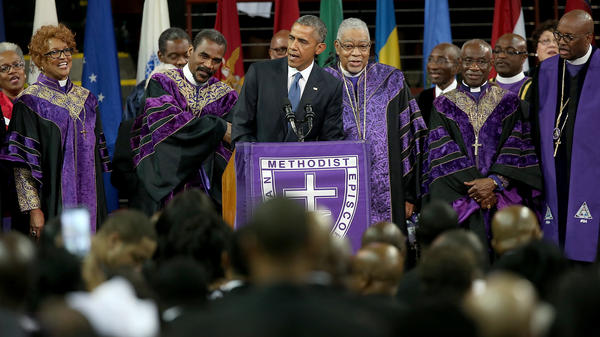 """President Obama sings """"Amazing Grace"""" while delivering the eulogy for the Rev. Clementa Pinckney on Friday."""