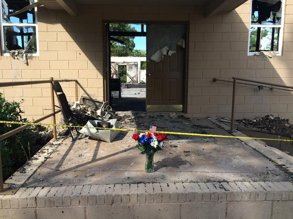 Flowers left at the front door of Glover Grove Baptist Church in Warrenville, S.C.