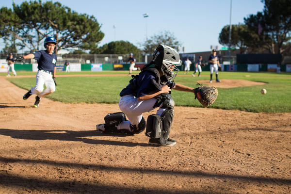 Playing catcher, Jake makes a play at home base during a practice at the Bad News Bears Field in Los Angeles.
