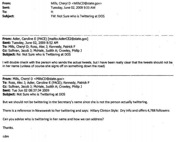 """Cheryl Mills: """"we should not be twittering in the Secretary's name"""""""
