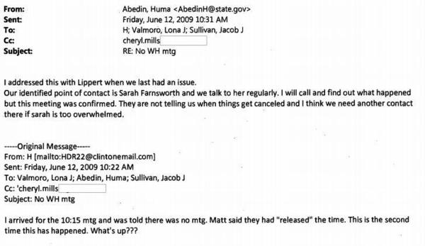 """Clinton: """"I arrived for the 10:15 am mtg and was told there was no mtg."""""""