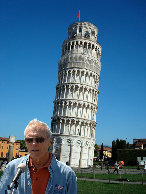 The experiment used a fake photo of actor Clint Eastwood and Pisa's leaning tower to test how the brain links person and place.