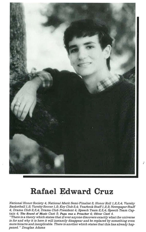 Cruz in his high school yearbook; he was president of the drama club.