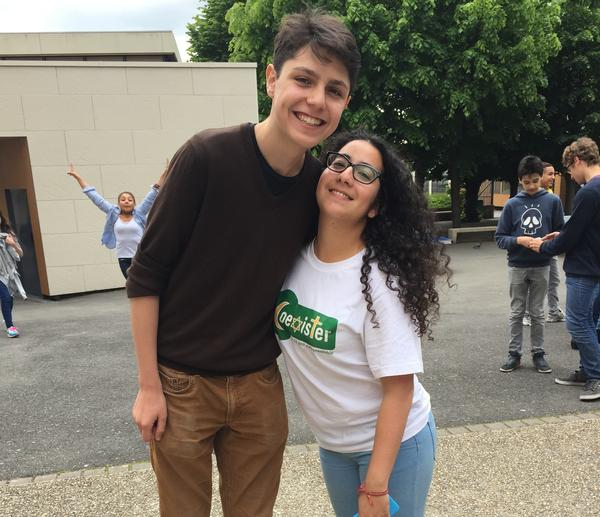 Lazare Jefroykin, an 18-year-old Jew (left), and Radia Bakkouch, a 23-year-old Muslim, work with Coexister in France. The group goes into the country's secular schools and addresses issues like religious stereotypes. Since an Islamist terror attack in January, the group has been receiving far more requests to speak.