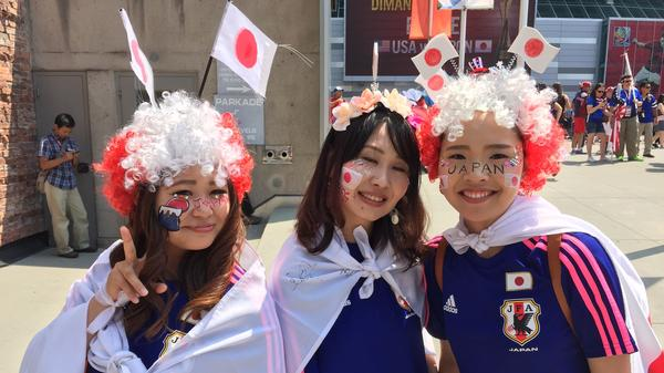 Japan fans are wildly outnumbered by red, white and blue ahead of the game on Sunday, but these three are decked out and ready to go. From left, Asuka Tsujimoto Keiko Tsujii and Yuri Nakayama came to Vancouver to cheer their country on.