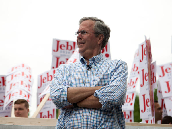 Republican presidential candidate Jeb Bush participates in a Fourth of July parade in Amherst, N.H., on Saturday.