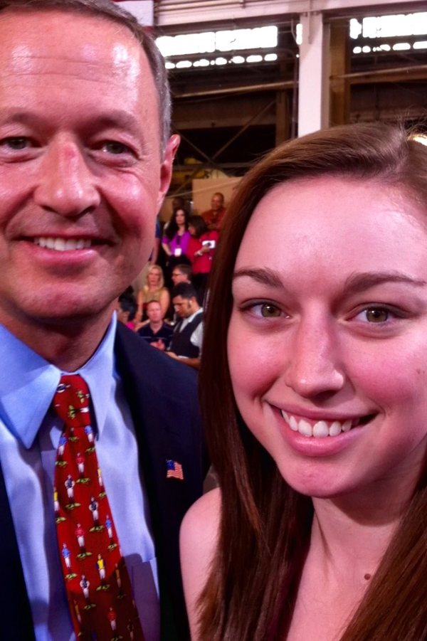 Kate Kafonek took this selfie with Martin O'Malley last year at an event in Baltimore.