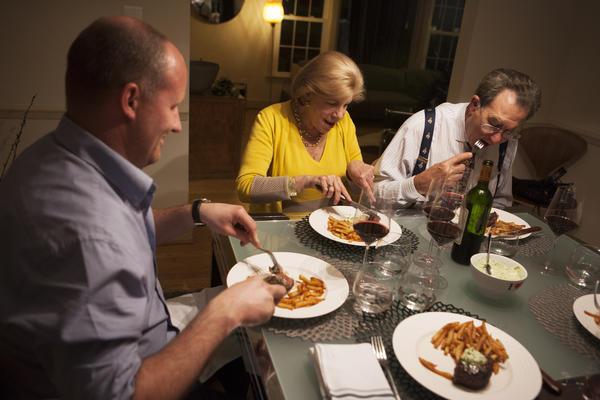 Chef Frederik de Pue eats dinner with NPR's Nina Totenberg and her husband David Reines.