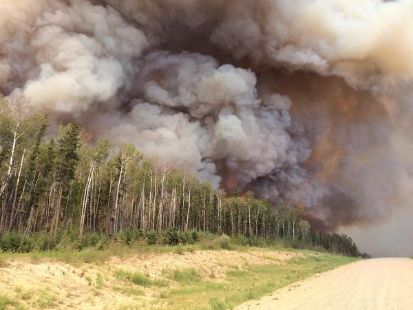 Smoke billows from a forest fire in southern Saskatchewan, Canada, in late June. Thousands of Canadians have been forced to evacuate their homes because of wildland fires.
