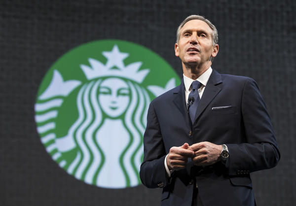 Starbucks Chairman and CEO Howard Schultz speaks during Starbucks annual shareholders meeting March 18, 2015 in Seattle, Washington. Schultz announced a 2-for-1 stock split, the sixth in the company's history, during the meeting. (Stephen Brashear/Getty Images)