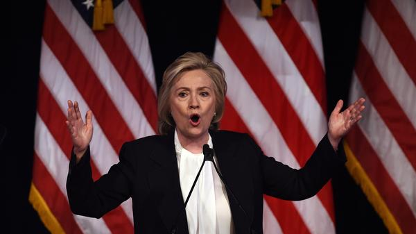 """One of the key economic issues to watch in this election will be how candidates deal with mammoth forces like technology and globalization. """"All of these trends are real, and none, none is going away,"""" Hillary Clinton said Monday."""