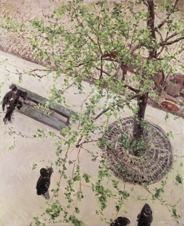 Caillebotte looks on the Paris streets below in<em> The Boulevard Seen from Above</em>, 1880.