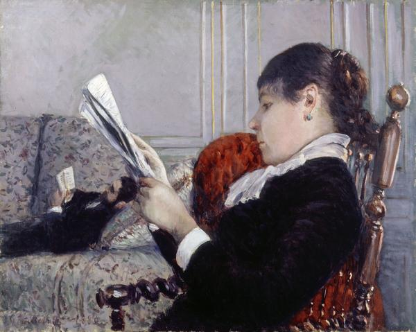 Gustave Caillebotte plays with perspective in his 1880 work <em>Interior, A Woman Reading.</em>