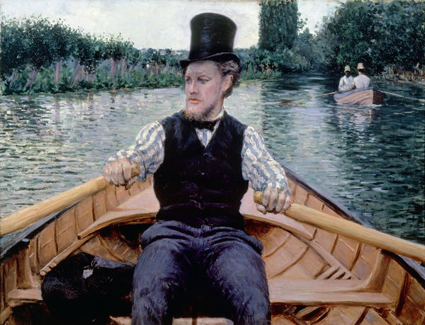 We're passengers in a boat in Caillebotte's 1877-78 <em>Boating Party.</em>