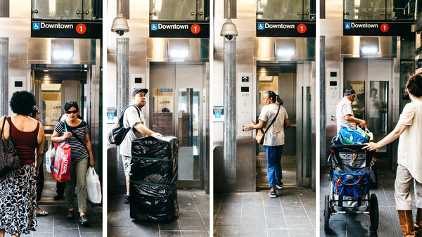 """""""This elevator is a gift from the disability community and the ADA to the nondisabled people of New York,"""" says Attorney Wolinsky, who co-founded Disability Rights Advocates. The elevator at the Dyckman Street Subway Station in Inwood, Manhattan, helps people of all abilities reach the platform."""