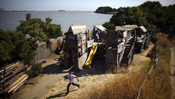 The park is a half-acre of dirt and quirky chaos hugging the Berkeley Marina on the San Francisco Bay. Children can paint, hammer and build with a minimum of adult intervention.
