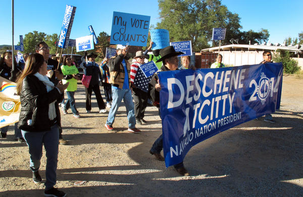 Supporters of Navajo presidential candidate Chris Deschene were unhappy last October when a court determined that he did not meet the language requirement.