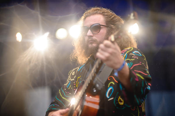 Jim James of My Morning Jacket performs with Roger Waters at the 2015 Newport Folk Festival.