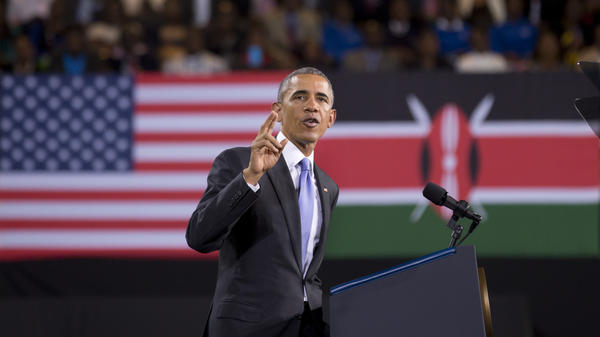 President Obama delivers a speech at the Safaricom Indoor Arena in the Kasarani area of Nairobi, Kenya, on Sunday.