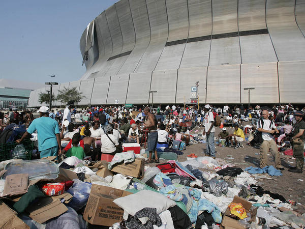 Trash piles up outside the Superdome on Sept. 2, 2005.