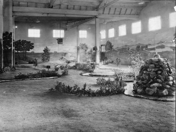 An indoor miniature course at the YMCA in Warren, Pa., circa 1935.