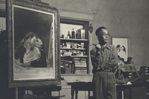 Artist Yasuo Kuniyoshi, seen here in his New York studio in 1940, exhibited with Georgia O'Keeffe and Edward Hopper. But his work was quickly forgotten after his death in 1953.
