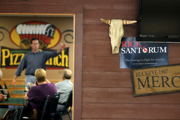 Former Sen. Rick Santorum spoke to voters at a Manchester, Iowa, Pizza Ranch in August 2011 ahead of the Iowa Straw Poll.