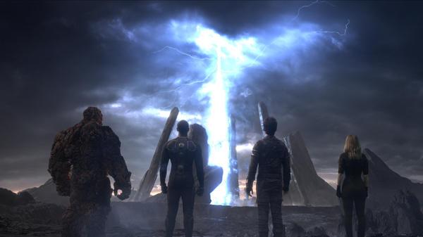 From left: Ben Grimm (Jamie Bell), Johnny Storm (Michael B. Jordan), Reed Richards (Miles Teller), Sue Storm (Kate Mara) in the new <em>Fantastic Four</em>.