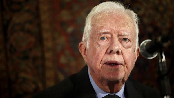 Former President Jimmy Carter speaks at a press conference in Jerusalem on May 2. Carter announced Wednesday that he has cancer.