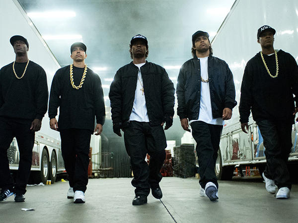 The five young stars of <em>Straight Outta Compton. </em>Left to right: Aldis Hodge (MC Ren), Neil Brown, Jr. (DJ Yella), Jason Mitchell (Eazy-E), O'Shea Jackson, Jr. (Ice Cube), Corey Hawkins (Dr. Dre).