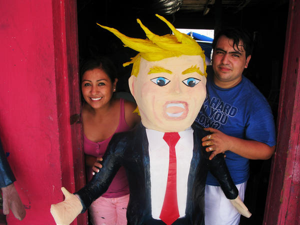 Dalton Javier Ramirez's younger sister, Denis, has helped him build piñatas resembling Republican presidential candidate Donald Trump, which have gotten a big response from Mexican-Americans.