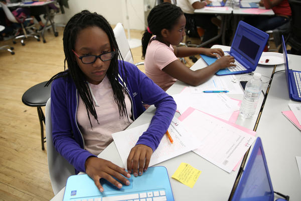 Teenage girls in San Francisco participate in a weeklong Black Girls CODE summer camp.
