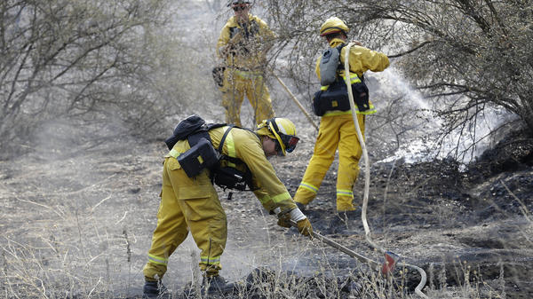 Western firefighters will be getting help from the U.S. Army for the first time in nine years. Which fire the soldiers will fight has not been announced. In this photo, Sonoma Valley Firefighters put out a hot spot from the Rocky Fire near Clearlake, Calif., earlier this month.