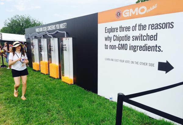 People who attended the Chipotle Cultivate Festival in Kansas City, Mo., on July 18 could vote on their opinions about genetically modified organisms after going through an exhibit.