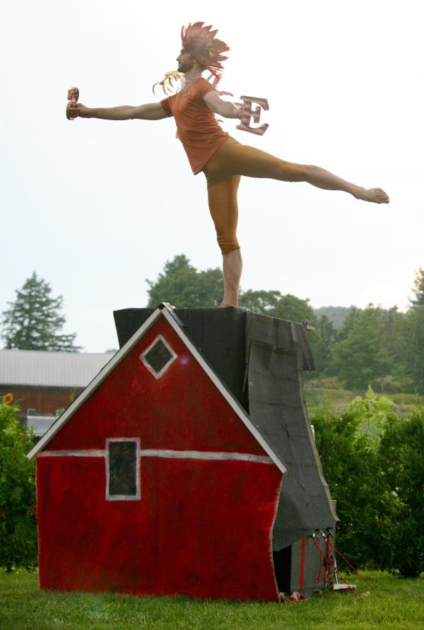 At a farm in Charlotte, Vt., Chatch Pregger dances as a weathervane rooster. Pregger, who directs the Farm to Ballet project, modified classical ballet dances to depict the changing seasons on a New England farm.