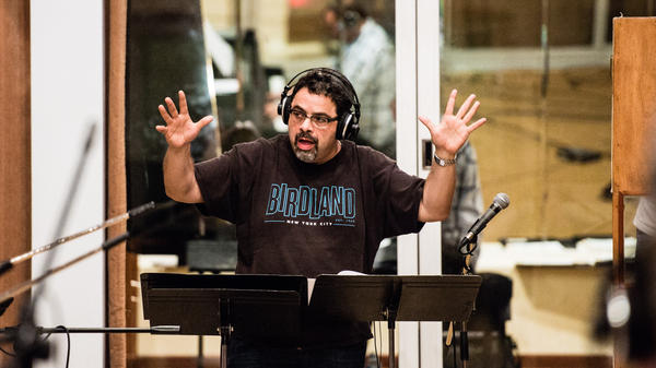 Arturo O'Farrill conducts during recording sessions in Havana last winter.