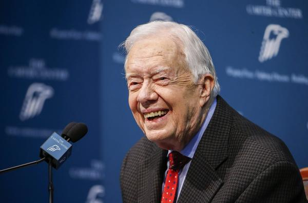 Former President Jimmy Carter discusses his cancer diagnosis at the Carter Center in Atlanta, on Thursday. Carter, 90, said the cancer has spread to his brain, and he will undergo radiation treatment at Emory University Hospital