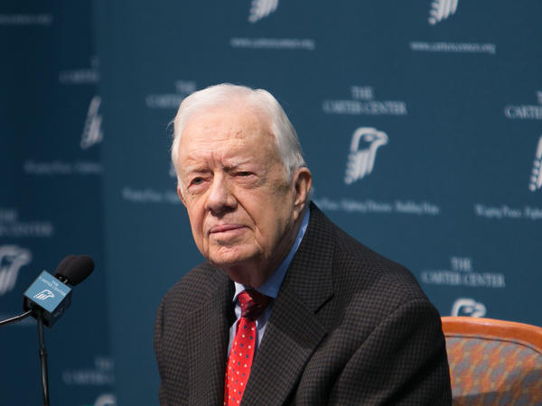 Former President Jimmy Carter discusses his cancer diagnosis during a press conference at the Carter Center on Thursday in Atlanta, Georgia.