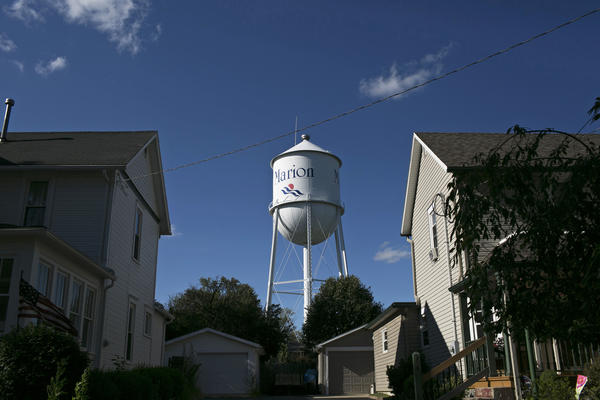 A water tower in Marion, Ohio. The city has been gripped by heroin addition.
