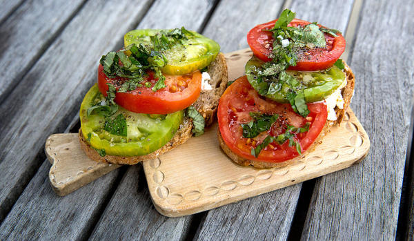 Kathy Gunst's End-of-Summer Tomato Tartine. (Robin Lubbock)