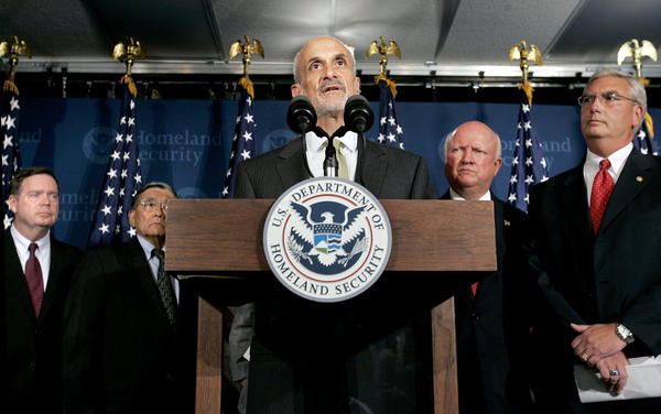 Homeland Security Secretary Michael Chertoff holds a news conference on Aug. 31, 2005, in Washington, D.C., declaring his agency would be coordinating relief efforts after Katrina.