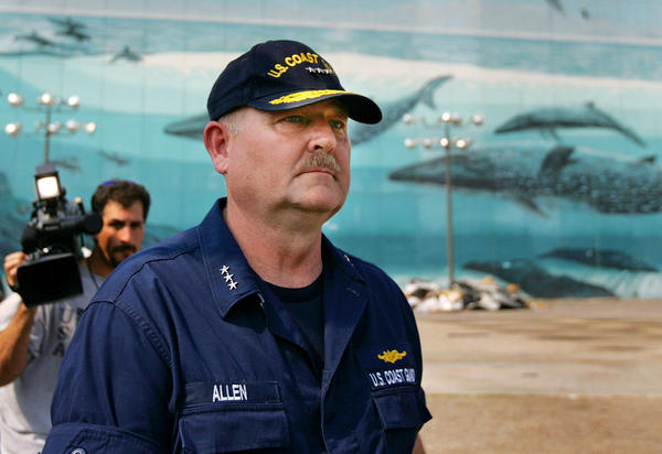 Vice Adm. Thad Allen, who took over the Federal Emergency Management Agency operation in New Orleans from FEMA Director Michael Brown, leaves a news conference on Sept. 10, 2005.