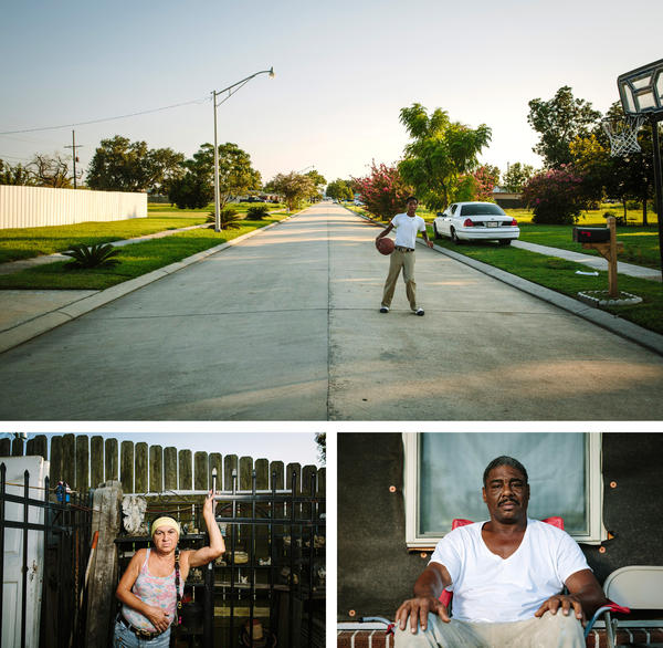 Ronnie Landry, 14, plays basketball in front of his home on Schnell Drive. He and his father, Wilbert Landry, bottom right, moved here from the 9th Ward of New Orleans in 2014. Noney Deffes, bottom left, is a longtime Schnell Drive resident who survived the flood in a neighbor's attic, then lived out of her recreational vehicle before returning to her home.