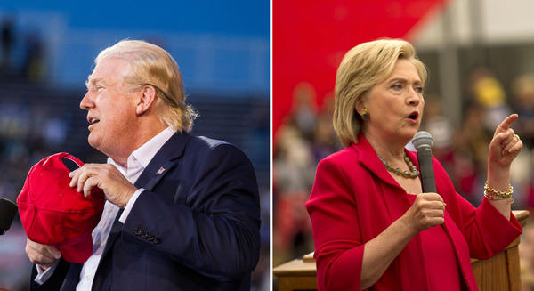At left: Donald Trump removes his hat to show that his hair is real during a political rally at Ladd-Peebles Stadium on August 21, 2015 in Mobile, Alabama. (Mark Wallheiser/Getty Images) At right: Hillary Clinton speaks to guests gathered for a campaign event on the campus of Case Western Reserve University on August 27, 2015 in Cleveland, Ohio. (Jeff Swensen/Getty Images)