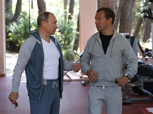 The pair strolled in tracksuits during their meeting.
