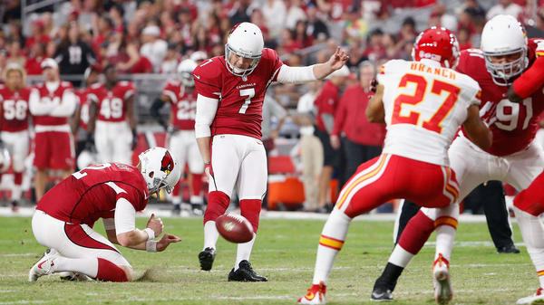 Kicker Chandler Catanzaro of the Arizona Cardinals kicks an extra point against the Kansas City Chiefs during a pre-season NFL game at the University of Phoenix Stadium on Aug. 15 in Glendale, Ariz.
