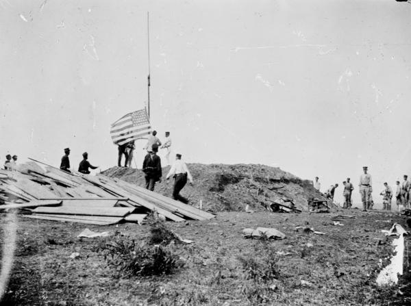 Hoisting the flag at Guantanamo, June 12, 1898. The U.S. has had  control of Guantanamo since the end of the Spanish-American war at the end of the 19th century.