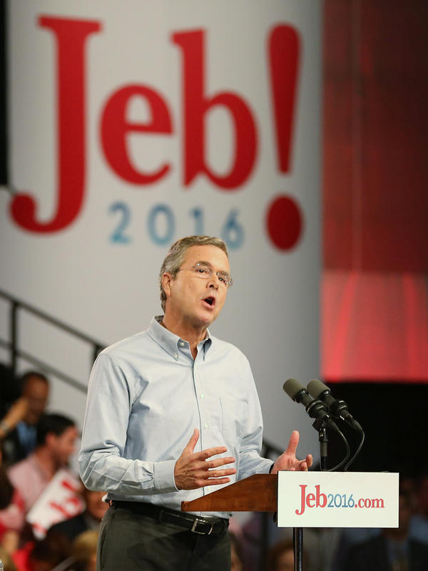 Jeb Bush's campaign logo, seen here during his June campaign kickoff in Miami, emphasizes his first name.