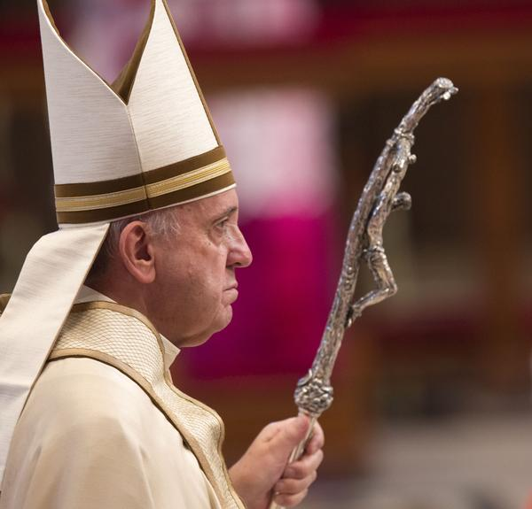 """Pope Francis, at a prayer in St. Peter's Basilica at the Vatican on Sept. 1. During the prayer, the pope announced he's allowing all priests in the church's upcoming Year of Mercy to absolve women of the """"sin of abortion"""" if they repent with a """"contrite heart."""""""