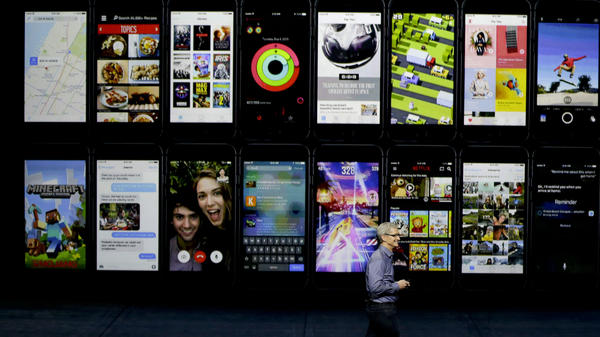 CEO Tim Cook discusses Apple TV during the Apple event in San Francisco on Wednesday.